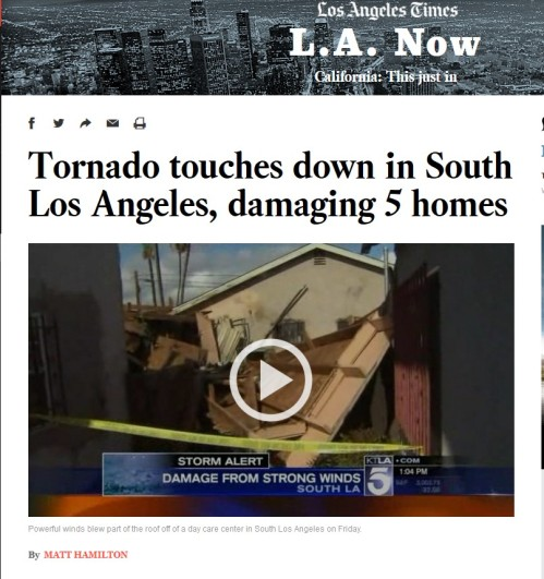 Los Angeles Times: Tornado touches down in South Los Angeles, damaging 5 homes