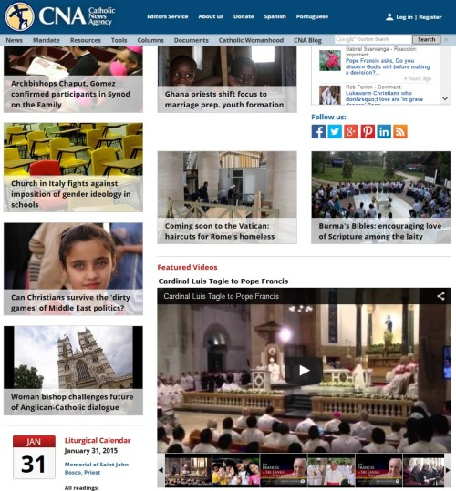 CNA - Catholic News Agency January 31 -2015 (click to access Reports of  interest to Christians at CNA)