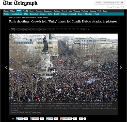 Paris Shooting-crowds join unity march for terrorist attacks (click to access the Telegram's article)