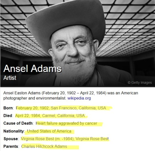 in search of Ansel Adams: Yahoo said: