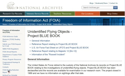FOIA - Unidentified Flying Objects - Project BLUE BOOK