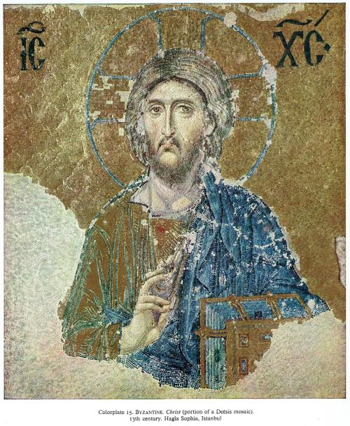 Bizantine. Christ (portion of a Deesis mosaic) 13th century Hagia Sophia Istanbul