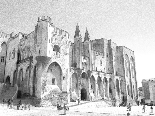 Main_entrance_of_the_Palais_des_Papes BW pencil-sketch-1-_FotoSketcher