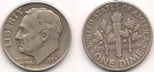 Both sides of a Silver Roosevelt Dime from 1953.