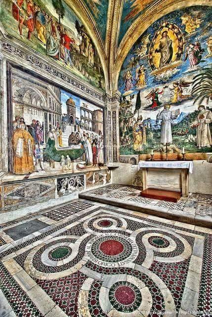 Frescoes in Cappella Bufalini at Basilica di Santa Maria in Aracoeli in Roma by Pinturicchio