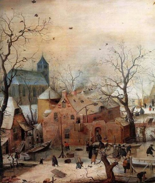 Hendrick Avercamp - Wonderland with skaters,  detail  1608