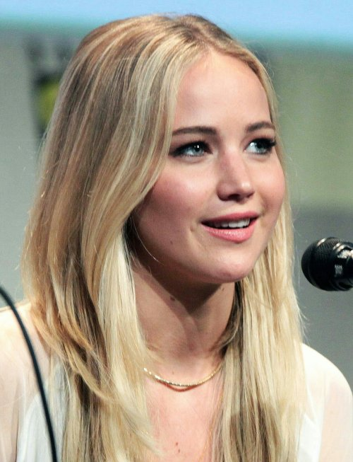 Jennifer Lawrence speaking at the 2015 San Diego Comic Con International, for