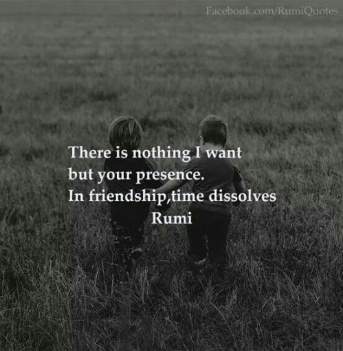 There is nothing I want but your presence. In friendship, time dissolves. ~ Rumi.