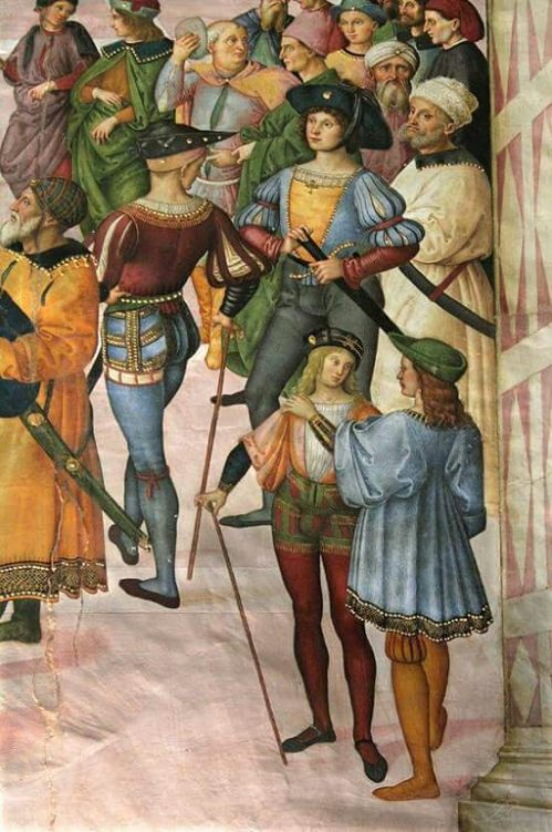 Pinturicchio between 1502 and 1508. Detail of a fresco in the Piccolomini Library in the Duomo of Siena.