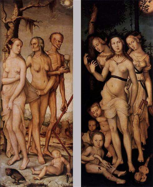 Hans Baldung Grien (c. 1484 – 1545) - Three Ages of Man and Three Graces 1539, Museo del Prado, Madrid