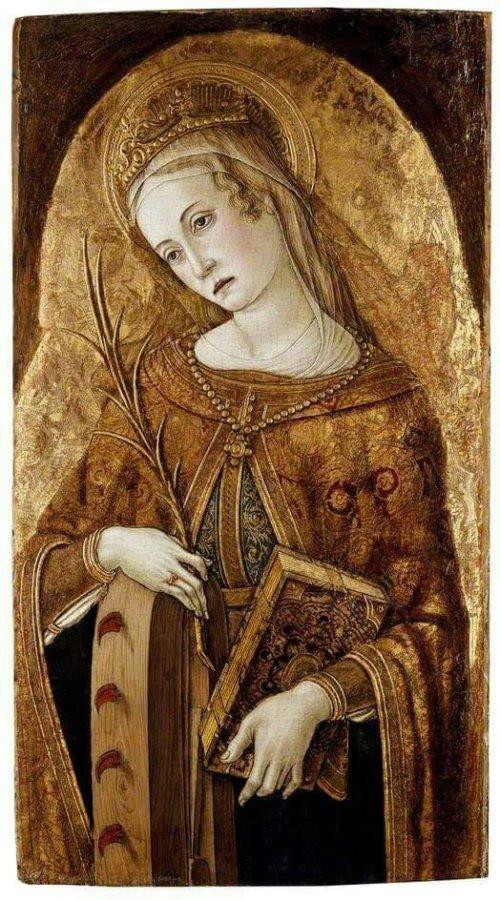 Vittore Crivelli (Italian artist, c 1440-1501)  St Catherine of Alexandria