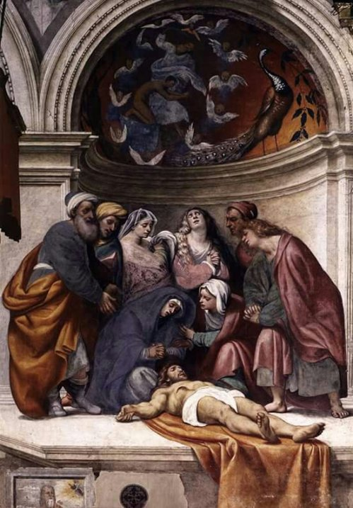 Fresco at Cremona Cathedral by Italian Renaissance painter Pordenone ( Giovanni Antonio de Sacchis ) Title: Lamentation  Date : 1522