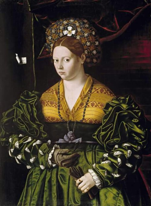 Bartolomeo Veneto, active 1502-1531Portrait of a Lady in a Green Dress, 1530Oil on panel, 85.9 x 67.6 cm (33-7/8 x 26-5/8 in.)