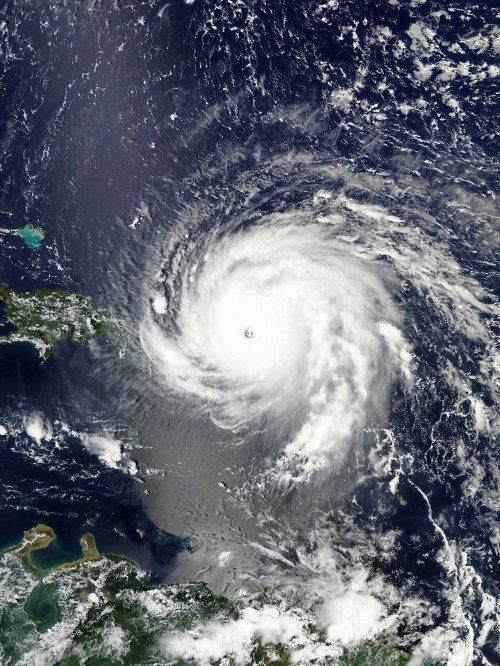 Hurricane Irma over the Virgin Islands at peak intensity on September 6, 2017