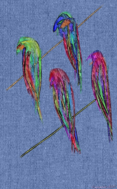 My birds on the wire today embossing sketch