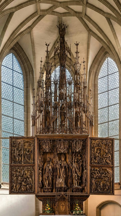 Winged altar at the parish- and pilgrimage church Kefermarkt, Upper Austria. Anonymous master (called Master of the Kefermarkt Altarpiece), around 1497.