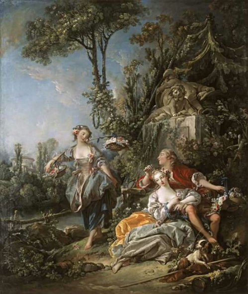 François Boucher, 1703 - 1770 Lovers in a Park, 1758 Oil on canvas, 232.4 x 194.9 cm (91-1/2 x 76-3/4 in.)