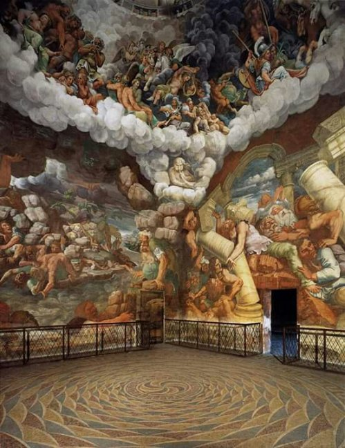 View of the Sala dei Giganti ( North and West Walls ) 1532-1534Artist: Giulio Romano Period: Mannerism ( Late Renaissance )Location: Palazzo del Tè , Mantua , Italia (( Fresco ))