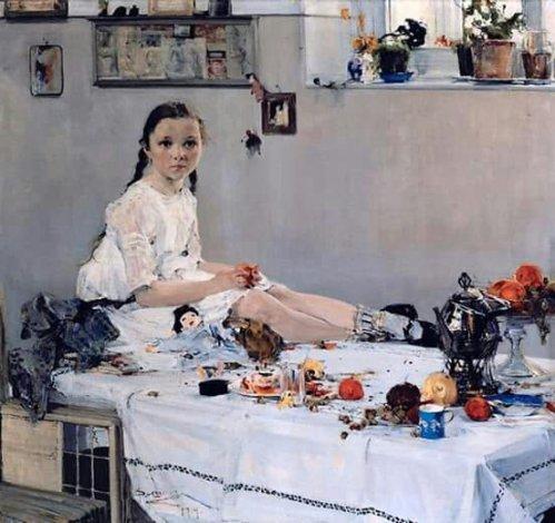 Fechin, Nicolai (Russian, 1881-1955) - Portrait of Varya Adoratskaya - 1914
