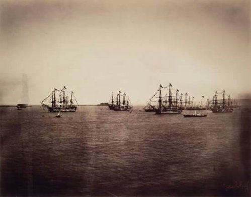 Gustave le Gray (1820-1884) Ships off the coast of Le Havre. ca. 1850