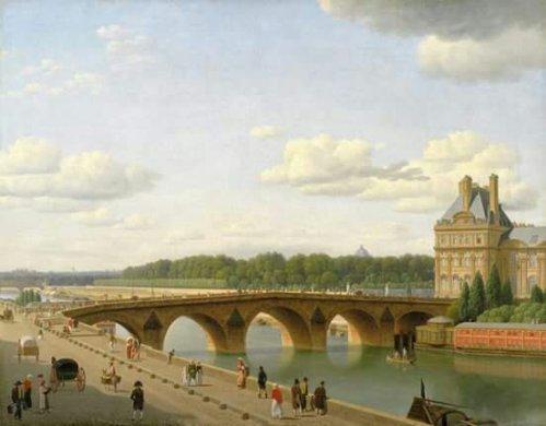 Christoffer Wilhelm Eckersberg – Statens Museum for Kunst KMS124. Udsigt ved Pont Royal fra Quai Voltaire i Paris (1812)