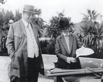 Photograph of architect Julia Morgan with William Randolph Hearst during the construction of Hearst Castle in 1926.