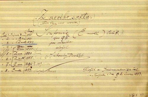 The title page of the autograph score of Dvořák's ninth symphony