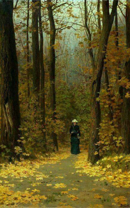 Polenov, Vasili Dimitrievich (b,1844)- Woman Walking Forest Trail,