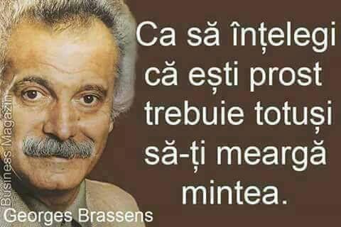 Ca să înțelegi că ești prost trebuie totuși să-ți meargă mintea! ~ Georges Brassens ~