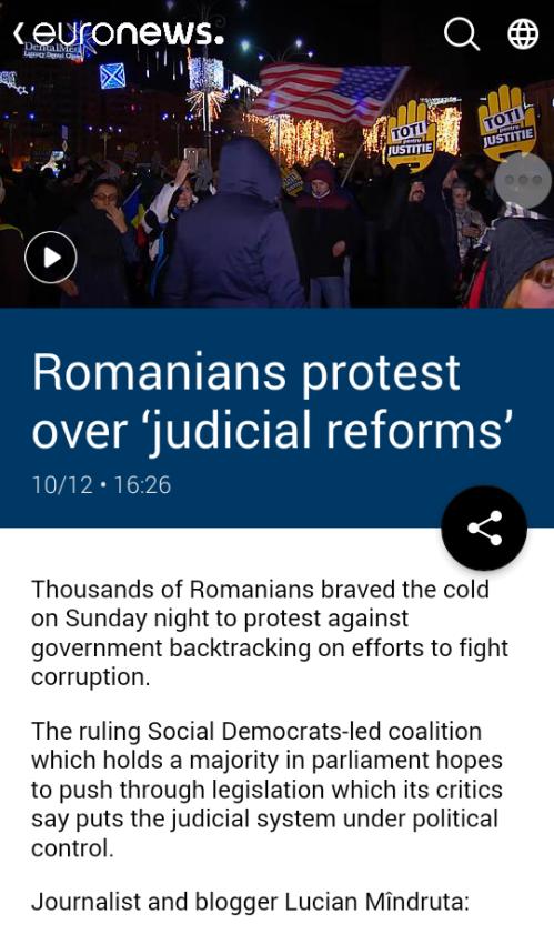 Via euronews: Romanians protest over 'judicial reforms'