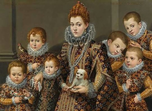 Lavinia Fontana (1552-1614) - Portrait of Bianca Degli Utili Maseli, Half Length, in an Interior, Holding a Dog and Surrounded by Six of Her Children