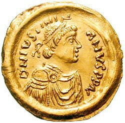 Tremissis with the image of Justinian the Great (r. 527–565).