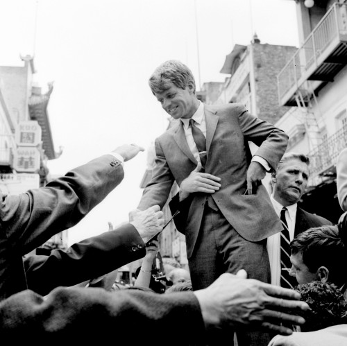 Senator Robert F. Kennedy, pictured campaigning for president in 1968