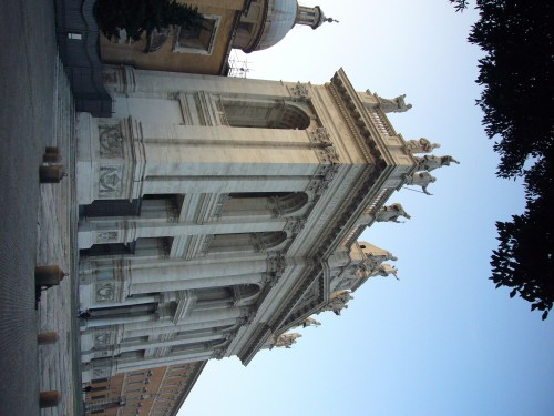 The late Baroque façade of the Basilica of St. John Lateran was completed by Alessandro Galilei in 1735 after winning a competition for the design. By Howard Hudson