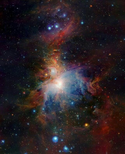 This wide-field view of the Orion Nebula (Messier 42), lying about 1350 light-years from Earth, was taken with the VISTA infrared survey telescope at ESO's Paranal Observatory in Chile. The new telescope's huge field of view allows the whole nebula and its surroundings to be imaged in a single picture and its infrared vision also means that it can peer deep into the normally hidden dusty regions and reveal the curious antics of the very active young stars buried there. This image was created from images taken through Z, J and Ks filters in the near-infrared part of the spectrum. The exposure times were ten minutes per filter. The image covers a region of sky about one degree by 1.5 degrees.