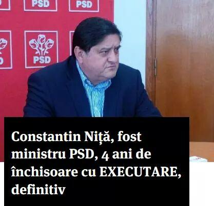 Fostul ministru PSD al Energiei, Constantin Niță, a fost condamnat definitiv la patru ani de închisoare cu executare pentru trafic de influență