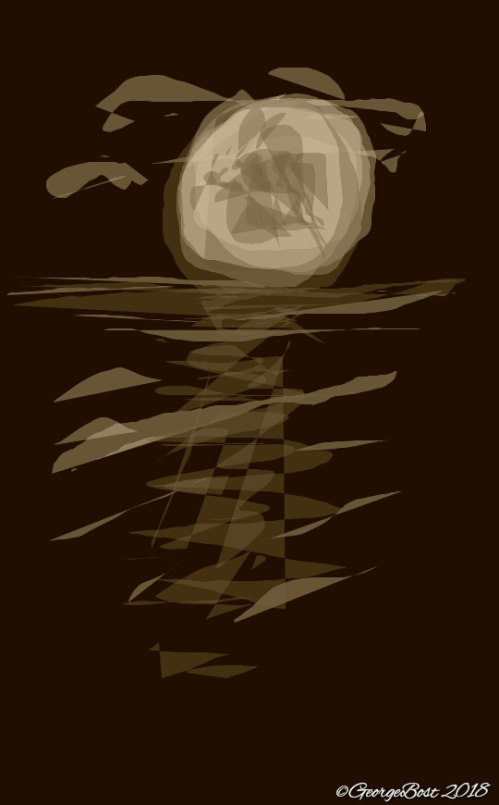 Full Moon on Water ~sepia sketch~