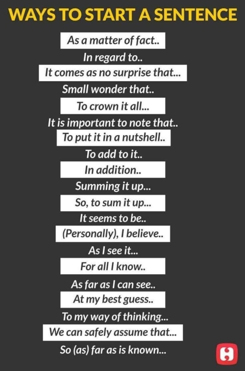 Ways to start a sentence