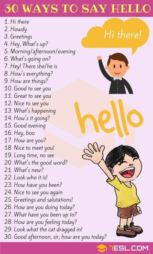 ESL: 30 WAYS TO SAY HELLO