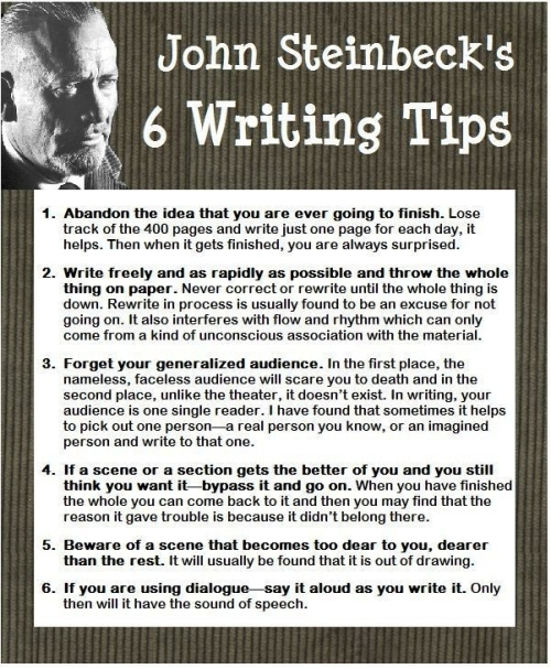 Quote: John Steinback's 6 writing tips