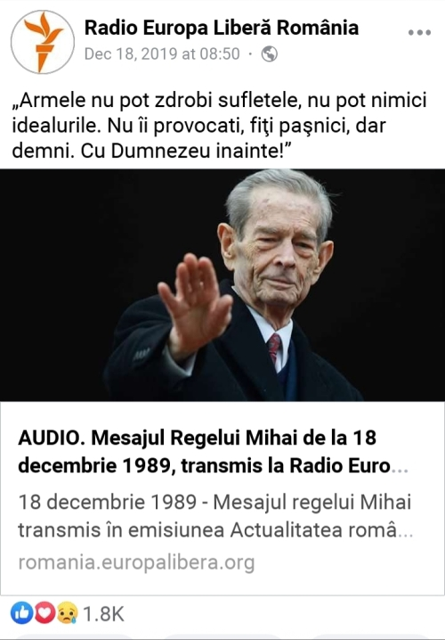 Mesajul regelui Mihai 18 Decembrie 1989!