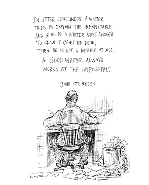 Quote: John Steinback (In utter loneliness a writer...)