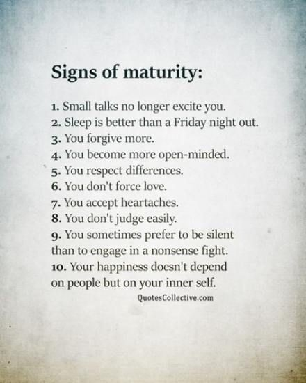Do you know?: 10 Signs of Maturity...
