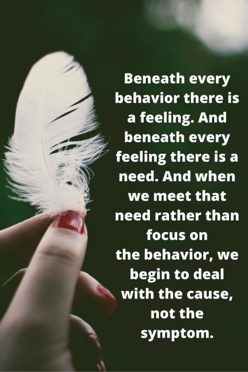 QUOTE: BENEATH EVERY BEHAVIOR THERE IS A FEELING