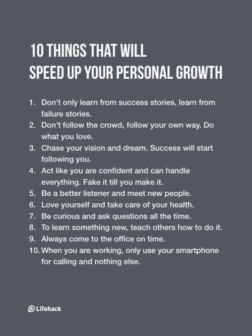 Quote: 10 Things That Will Speed Up Your Personal Growth