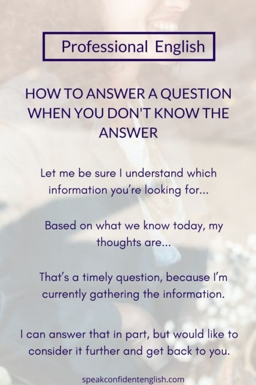 ESL: HOW TO ANSWER A QUESTION...