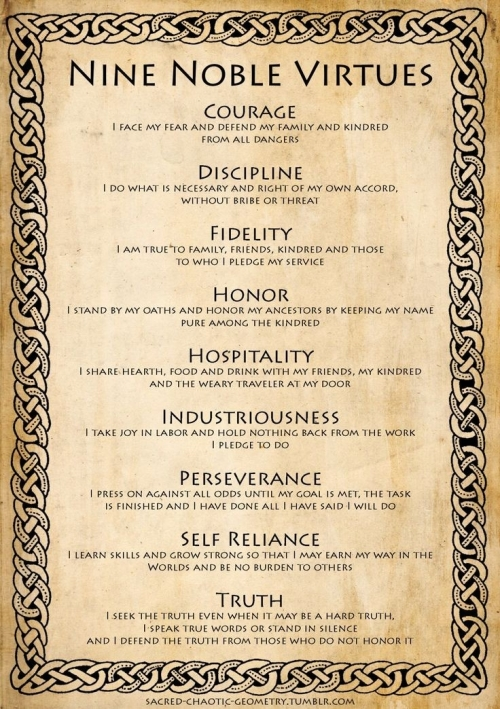 Quote: Nine noble virtues...